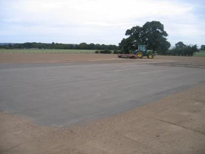 Cricket square and outfield prepared ready for seeding