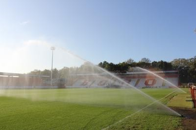 Rain Bird 950E sprinklers operating on pitch perimeter