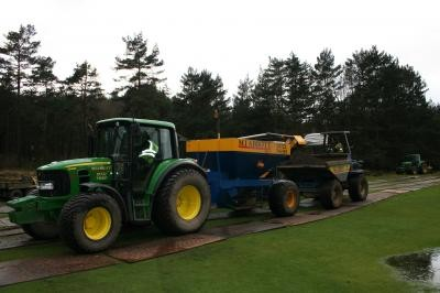 Drainage machinery operating on turf protection boards