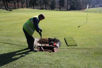Excavating hole for sprinkler installation