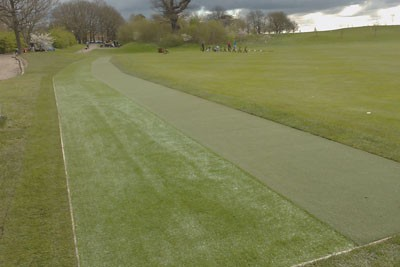 Completed practice tee and pathway ready for play