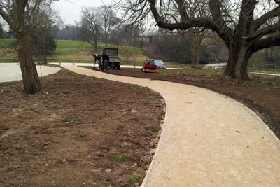 New pathway with timber edging