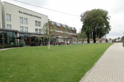 Finished lawns at the rear of the hotel