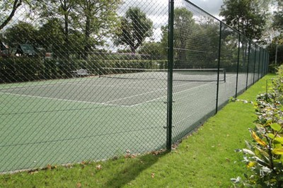 Refurbished two tone macadam tennis court