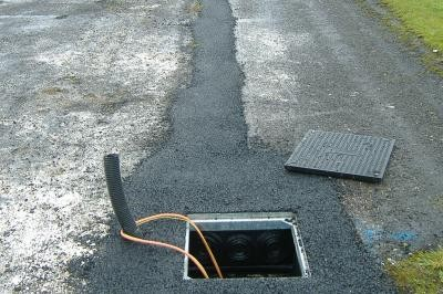 Duct chamber showing tarmac reinstatement