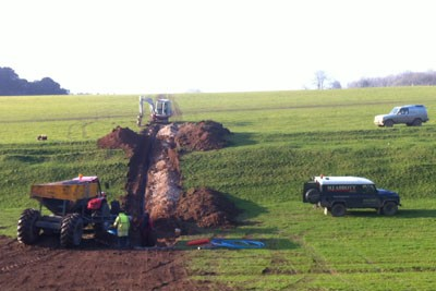 Trenching in water pipe
