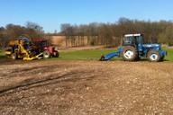 Winch drawn mole plough and gravel cart