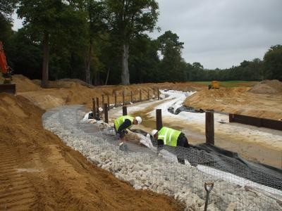 18th water feature gabion wall construction