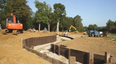 Construction of water feature at the 18th