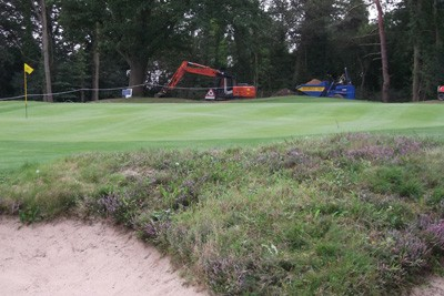 Construction work to new 16th Tee in progress, with existing 15th Green in foreground