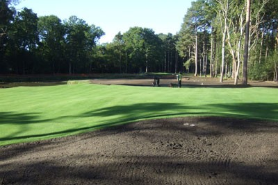 View from behind new 16th Green back towards new 16th Tee