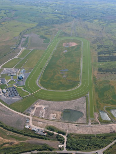 Aerial view of Ffos Las Racecourse